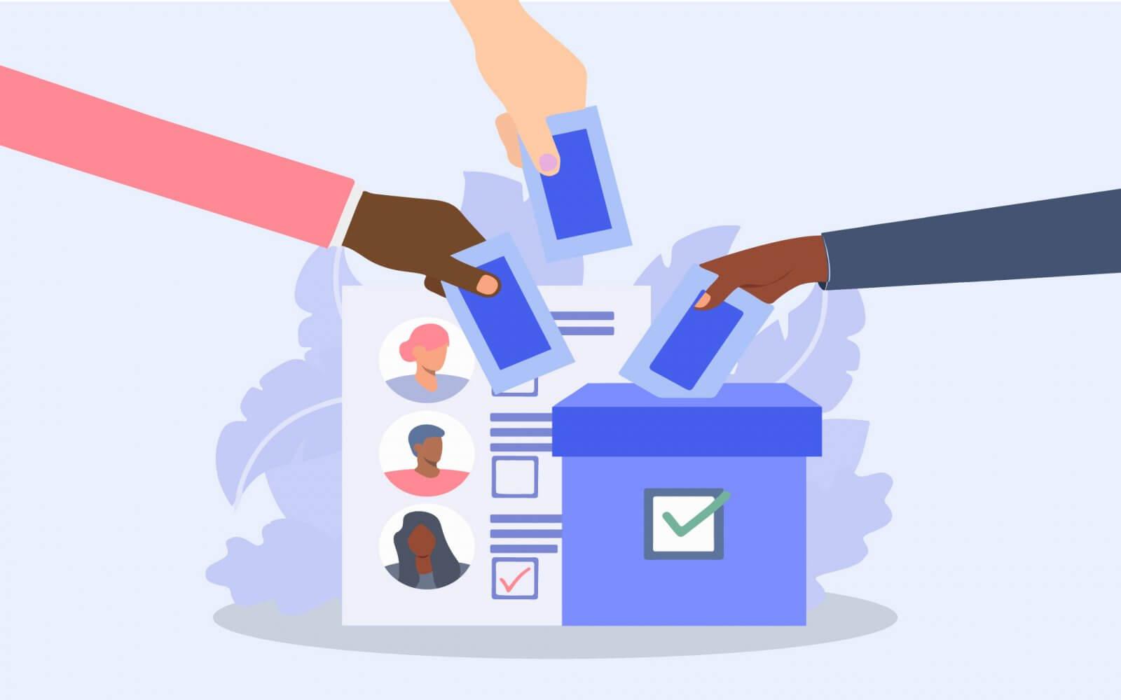Illustration de trois bulletins de votes glissés dans l'urne