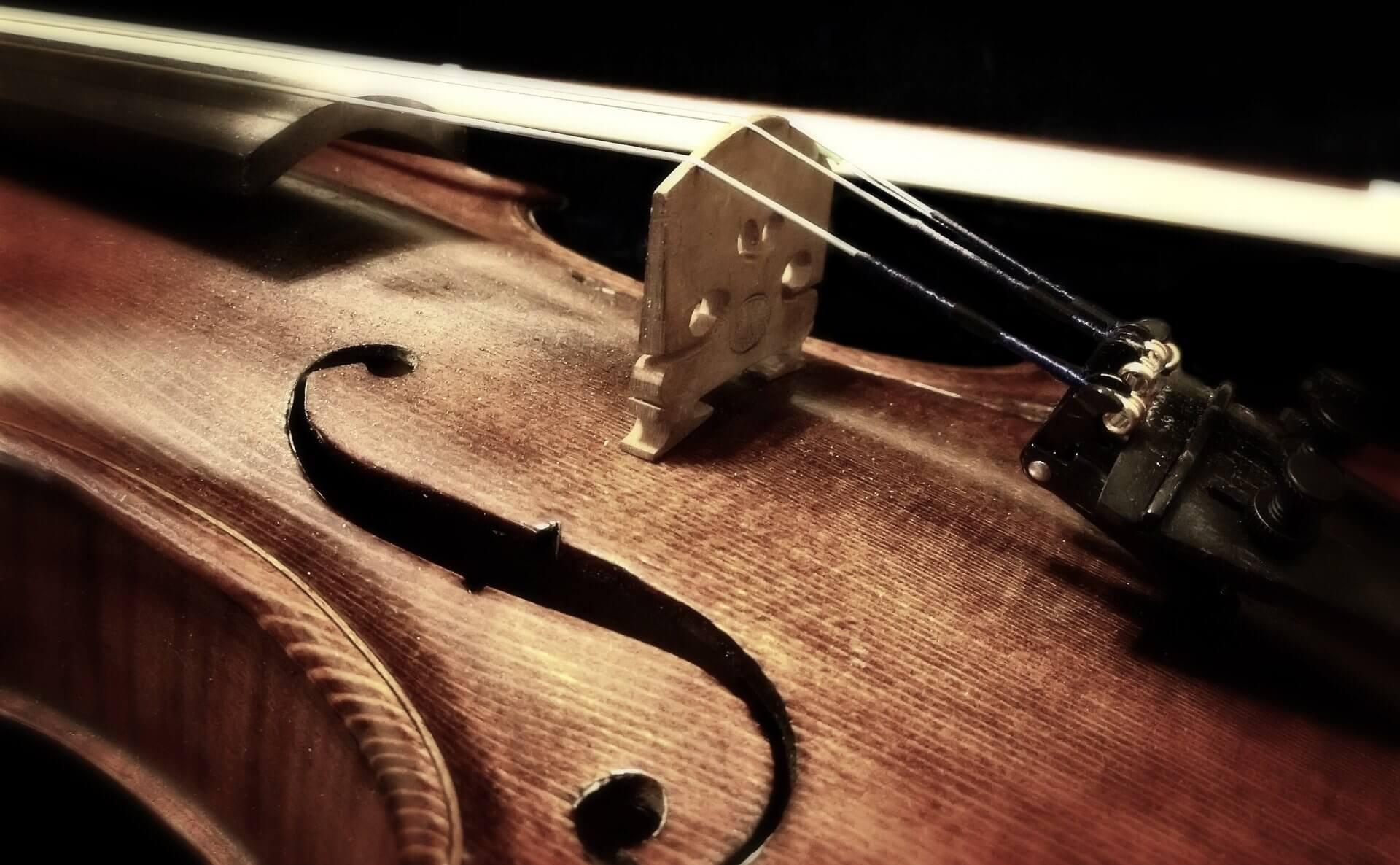 Gros plan sur un violon en bois et ses cordes